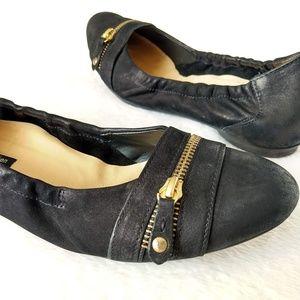 PAUL GREEN Black Nubuck Leather Zipper Toe Flats 8